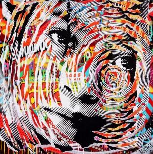 AGAINST THE WALL by Jo Di Bona 2016 100x100 technique mixte sur toile