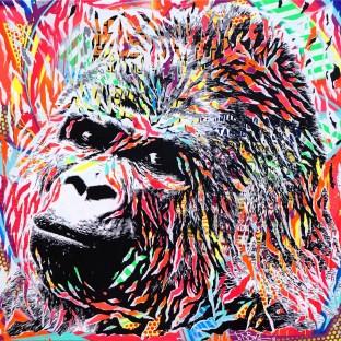 FLUO GORILA by Jo Di Bona 2016 150x150 technique mixte sur toile