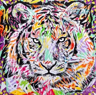 TOKYO TIGER by Jo Di Bona 2016 150x150 technique mixte sur toile