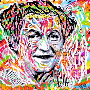 COLUCHE IS SO POP! by Jo Di Bona 2017 100x100 technique mixte sur toile