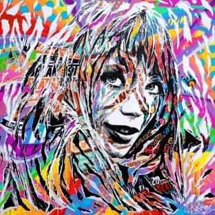 FALL OUT by Jo Di Bona 2017 100x100 technique mixte sur toile