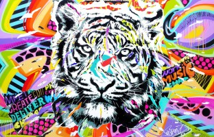 BACK IN BLACK TIGER 300x200 by Jo Di Bona 2017 320x180 technique mixte sur toile