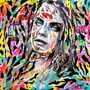 FEVER HEART by Jo Di Bona 2017 60x60 technique mixte sur toile