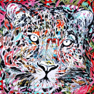 QUEEN PANTHER by Jo Di Bona 2018 120x120 technique mixte sur toile