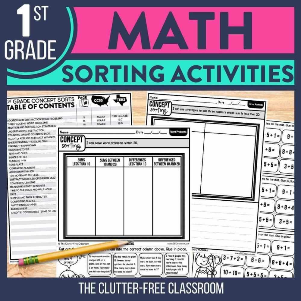 medium resolution of Math Sorting Activity Ideas for 1st