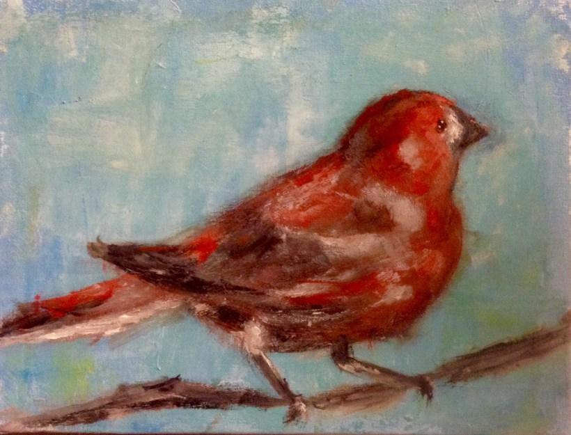 red bird blue sky