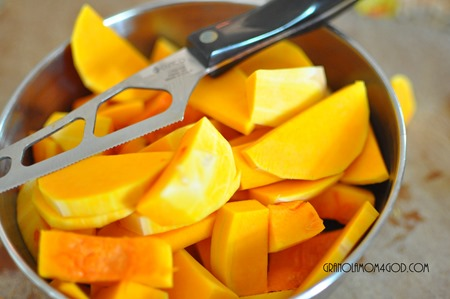 using cutco cheese knife to slice butternut squash for vitamix