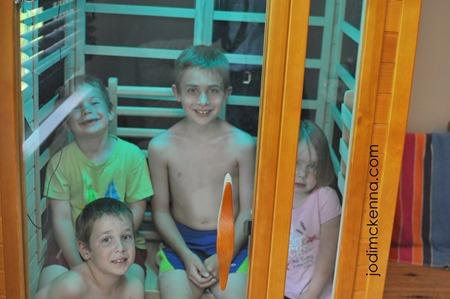 kids in the Golden Designs sauna