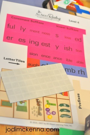 All About Reading Level 4 manipulatives