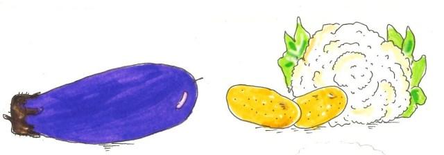 Légumes aubergine patate chou fleur