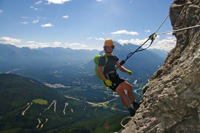Climbing Via Ferrata at Mt Norquay, Banff National Park