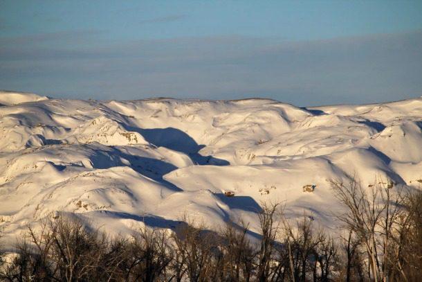 badlands in winter