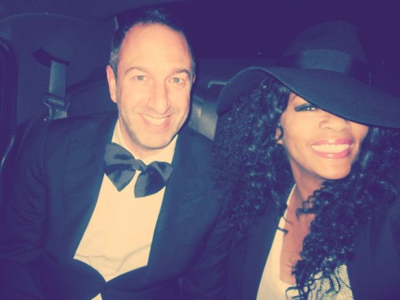 In the back of our town car on the way to Giorgio's - glammed up! Photo: © 2014 Jody Watley