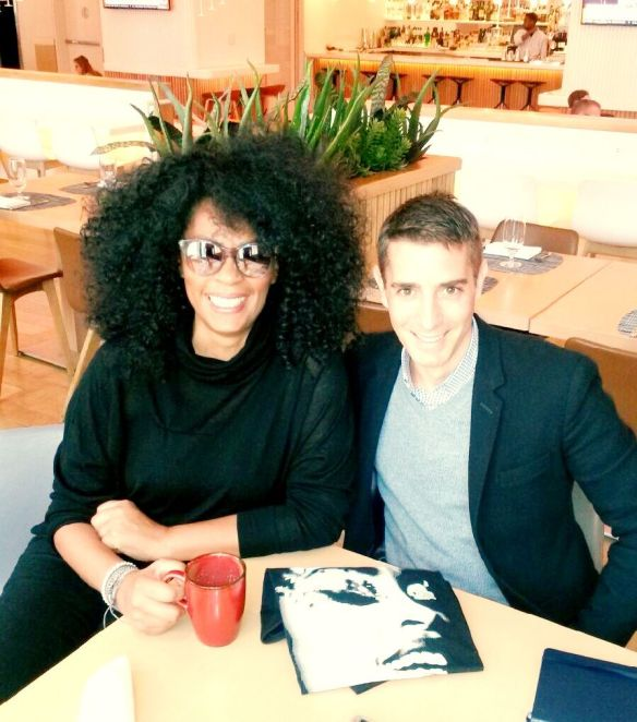 Jody Watley  being interviewed by Elio Iannucci in New York February 2015 for Fashion Canada feature.