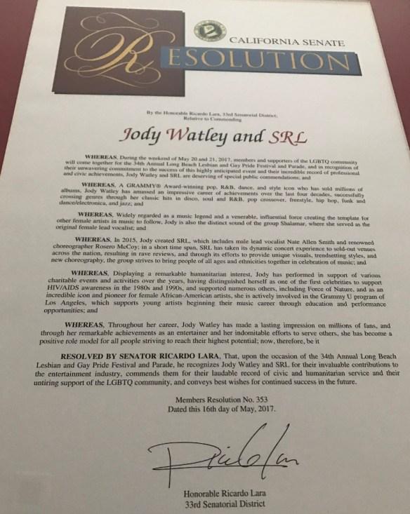Jody Watley Resolution California State 2017