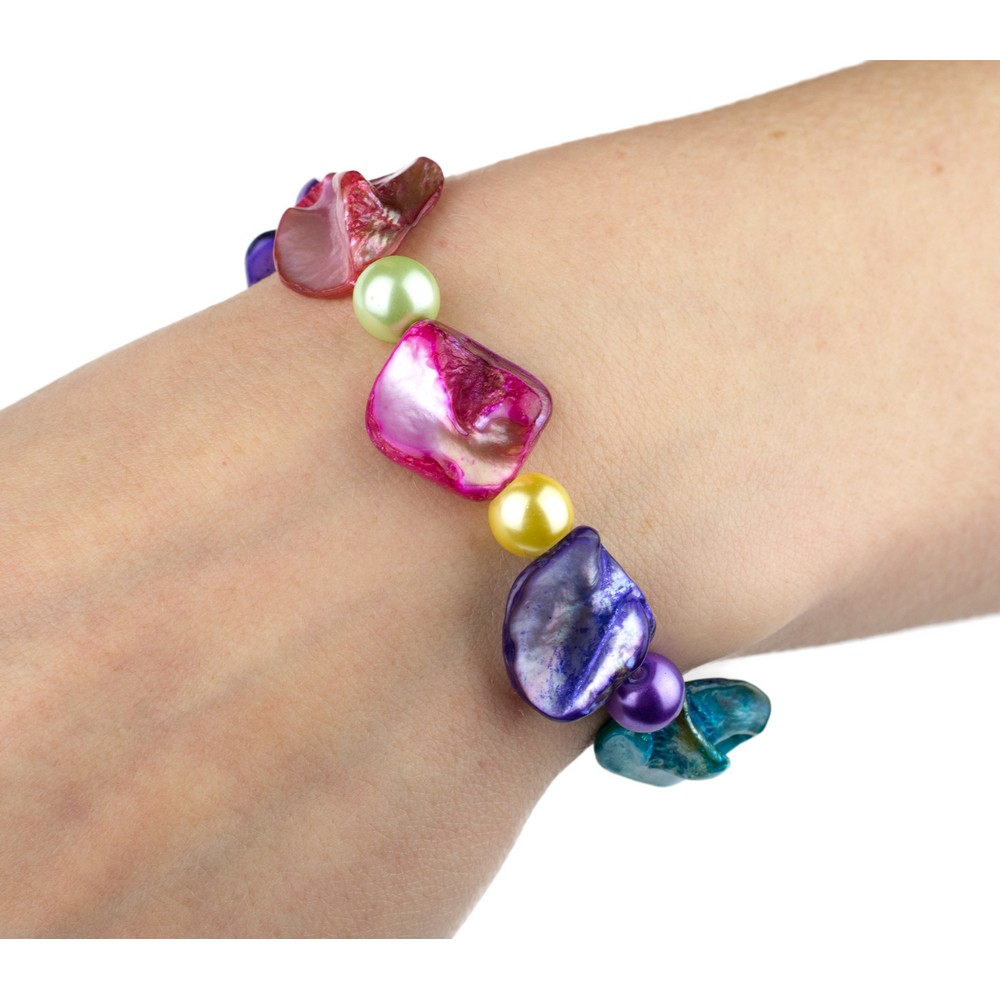 Joe Cool Bracelet Multi-Coloured Nugget 18cm Made with Mother of Pearl