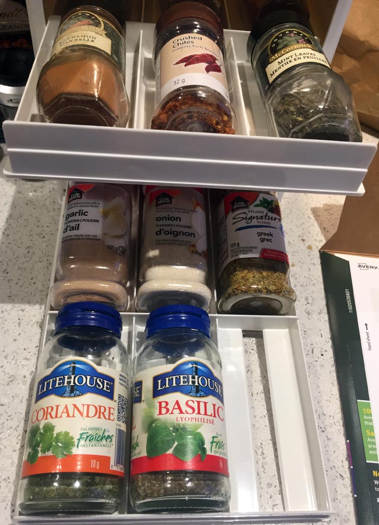 How To Start Your RV Living Adventure: Tips for Down-Sizing and Getting Organized. The YouCopier organizer fits both small and large spice bottles