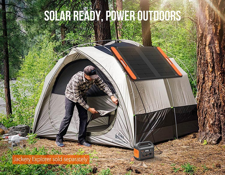 New Jackery Explorer 240 Camping Generator offers Multiple Options for RV living. One option for mounting the Jackery solar panel. Note how the panel is mounted on the side of the tent