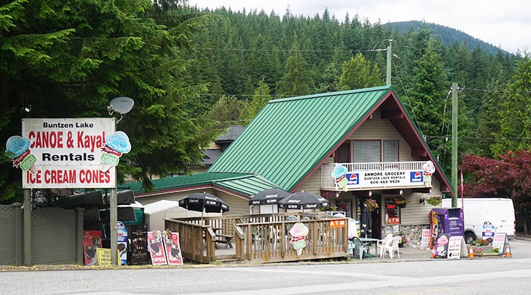 Review of Anmore Camp and RV Park, Near Vancouver. Anmore Grocery store and kayak rental
