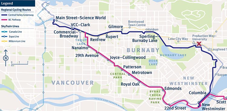 Review of the Burnaby Cariboo RV Park, Near Vancouver. This map shows the Central Valley Greenway bike route. Graphic credit Translink. X marks the spot where the Burnaby Cariboo RV Park is located