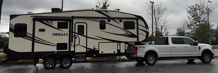 Review of the Burnaby Cariboo RV Park, Near Vancouver. With our long-bed Ford F350 truck and 30-foot fifth-wheel trailer, which together measure 47 feet, we found that most of the sites at the Burnaby Cariboo RV park were hard to get into