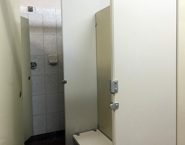 Review of the Burnaby Cariboo RV Park. The washrooms and showers are older, but well-maintained and always clean. This photo shows how each private shower is attached to a small private change room