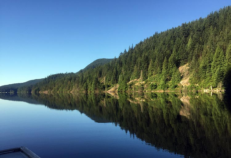 Biking and Hiking Near the Anmore RV Park in the Buntzen Lake Area, British Columbia. I took this photo from the small floating jetty at North Beach, Buntzen Lake