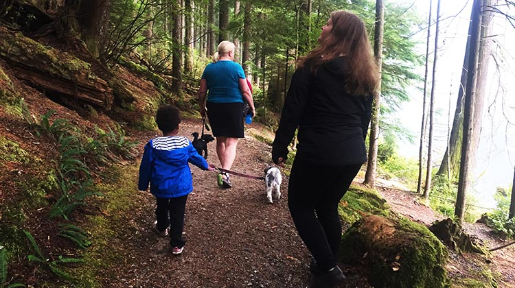 Review of Anmore Camp and RV Park, Near Vancouver. We had some great family visits while at Anmore Park. Here we are hiking one of the many adjacent trails
