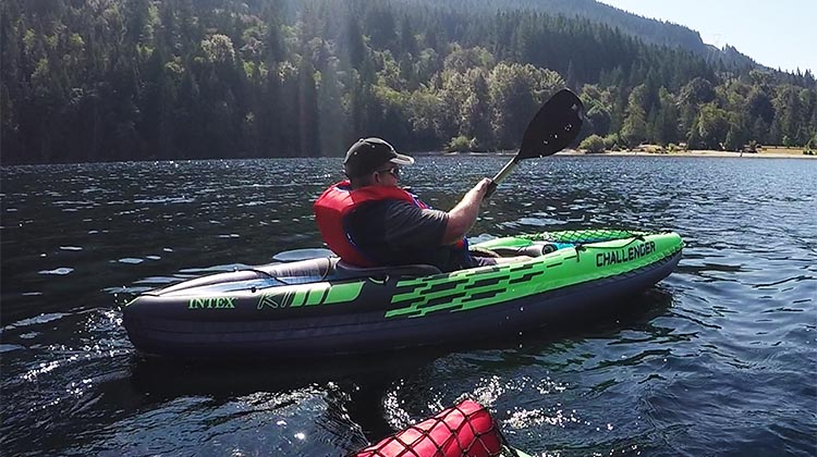 Review and Assembly of the Intex Challenger K1 Kayak – the Best Lightweight, Budget, Inflatable Kayak for RV Living. Here's me, imagining I am paddling at great speed across Buntzen Lake!