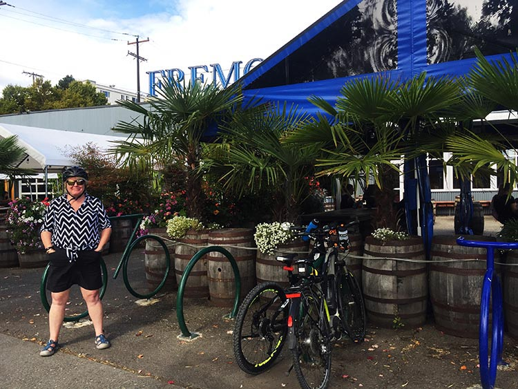What Can You Do When Your RV is Having Repairs? Maggie with our bikes outside Fremont Brewing. There is bike parking right next to the tables, which is very convenient. Fremont Brewing is situated right next to the Burke-Gilman Trail