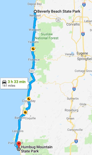 Our Experience of RV Camping at Beverley Beach and Humbug Mountain State Parks, Oregon Coast. Map of our route along US 101 from Beverley Beach State Park to Humbug Mountain State Park