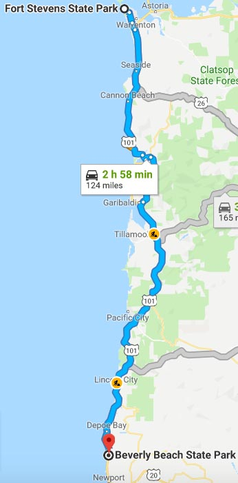 Our Experience of RV Camping at Beverley Beach and Humbug Mountain State Parks, Oregon Coast. Map of our route along US 101 from Fort Stevens to Beverley Beach State Park