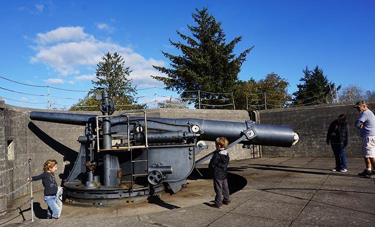 Bike Trails at Fort Stevens State Park in Oregon. This is the biggest gun at Fort Stevens