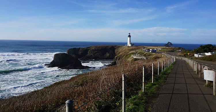 Our Experience of RV Camping at Beverley Beach and Humbug Mountain State Parks, Oregon Coast. The Yaquina Head Lighthouse is officially called an Outstanding Natural Area