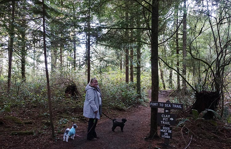 Here are Maggie and our dogs on the Fort to Sea Trail at Fort Clatsop