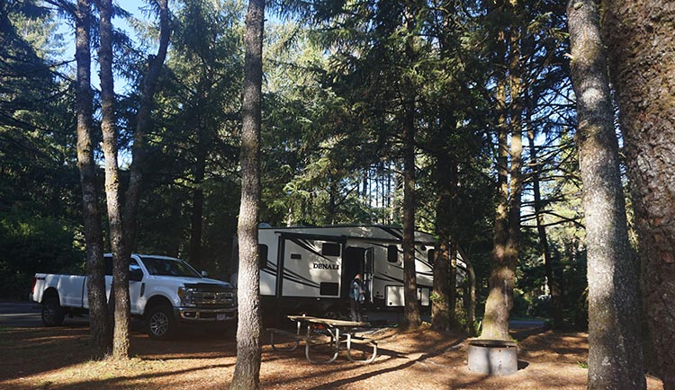 Our Experience of RV Camping at Beverly Beach and Humbug Mountain State Parks, Oregon Coast. Our spacious and private site at Beverly Beach State Park