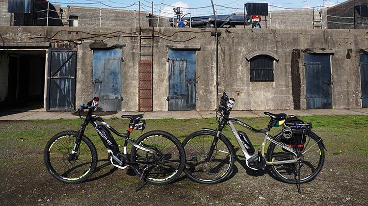 Bike Trails at Fort Stevens State Park in Oregon. Our bikes parked at the Fort Stevens historic site