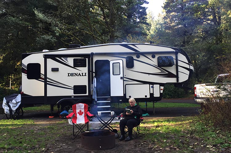 Our Trip to Fort Stevens State Park, Oregon. Our RV adventure begins! Here we are, camped at Fort Stevens on nice, big, pull-through site (no reversing required!). We made a fire and enjoyed relaxing and listening to the dogs and squirrels