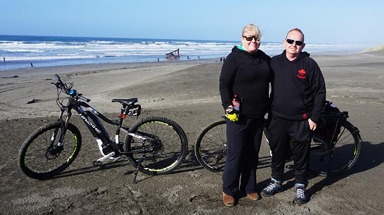 Here we are on Peter Iredale Beach. If you look closely, you can see the wreck in the background