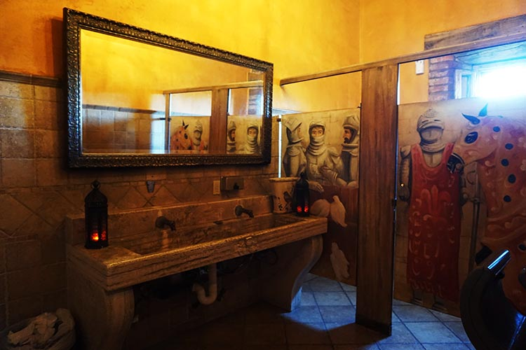 Winery Tours in Calistoga, Napa Valley, California. In the castle, even the washrooms are beautiful! This was the men's washroom. The ambience is accentuated with piped medieval music