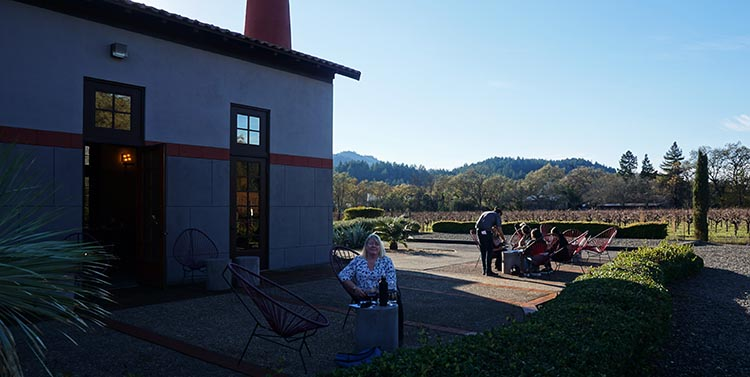 Winery Tours in Calistoga, Napa Valley, California. Outdoor wine tasting at the Clos Pegase vineyard in Calistoga