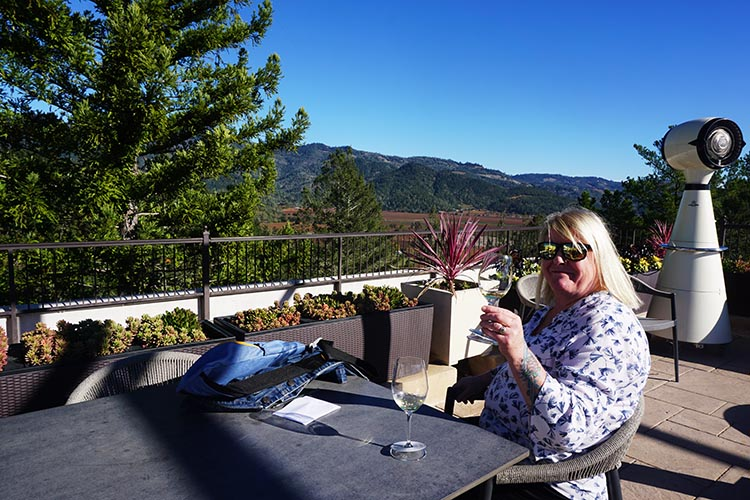 RV Camping at the Calistoga RV Park, Napa Valley, California. Maggie tasting wines on the roof of the Sterling vineyard's building, accessed via a gondola that soars over the vineyard!