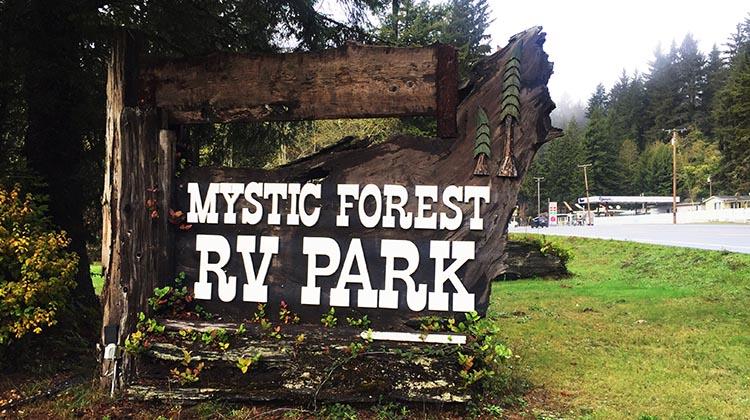 Review of Mystic Forest RV Park, near Klamath, California. Sign outside the Mystic Forest RV Park