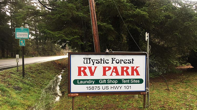 Review of Mystic Forest RV Park, near Klamath, California. The entrance to the Mystic Forest RV Park is well signed on Highway 101