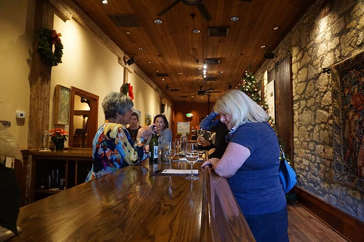 Winery Tours in Calistoga, Napa Valley, California. The wine tasting room at the Chateau Montelena