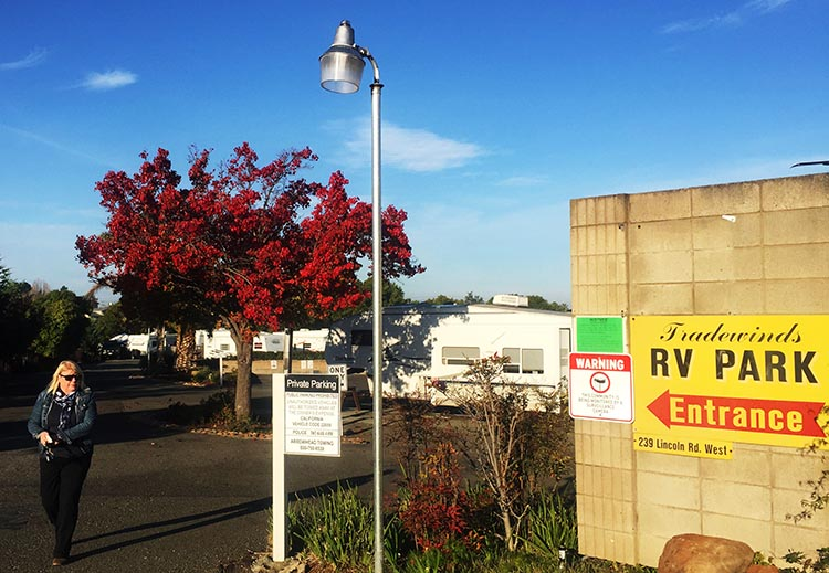 Review and Video of Tradewinds RV Park in Vallejo, near San Francisco. At the entrance to Tradewinds RV Park, waiting for a cab to take us to the Vallejo ferry terminal