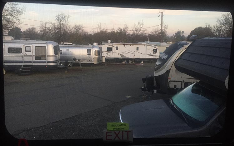 Review and Video of Tradewinds RV Park in Vallejo, near San Francisco. View from one of our windows at the Tradewinds RV Park