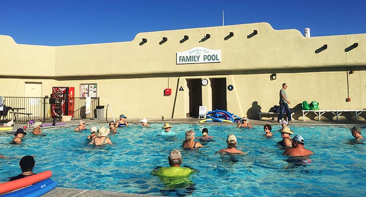 RV Camping in California. Water aerobics at Catalina SP RV Resort