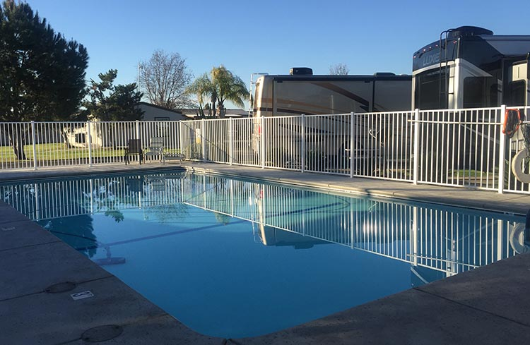 RV Camping in California. The pool at A Country RV park was not usable, as it was not heated - in December
