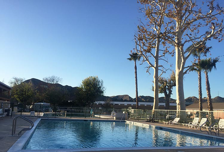 RV Camping in California. The pool at Valencia Travel Village